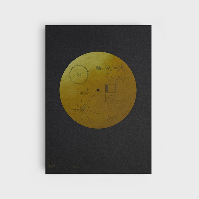 Silkscreen-printed reproduction of the Golden Record cover, using the original instructions in fine detail.