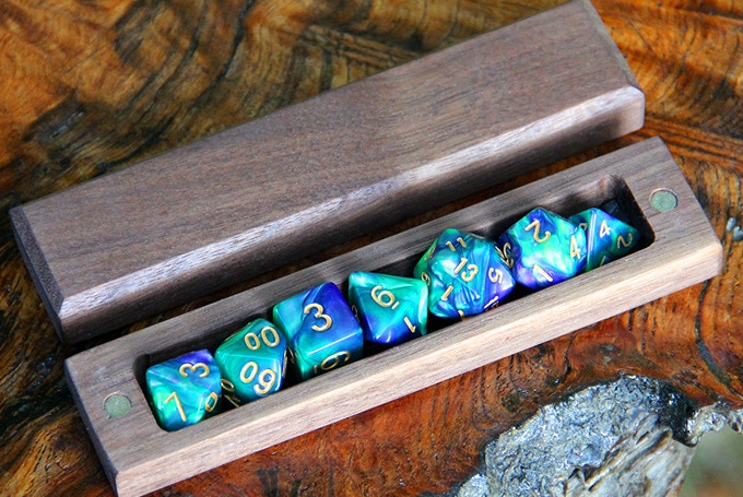 Walnut Hero Sleeve with Aurora Dice