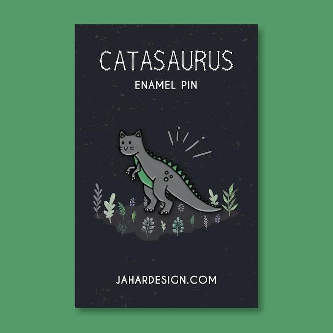 Catasaurus Halloween option enamel pin