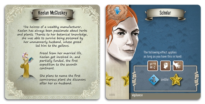 Keelan: an explorer and keen Botanist. One of the explorers available to you with an example of her Skill cards.