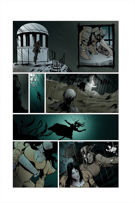 The page inked and coloured digitally over the original pencils