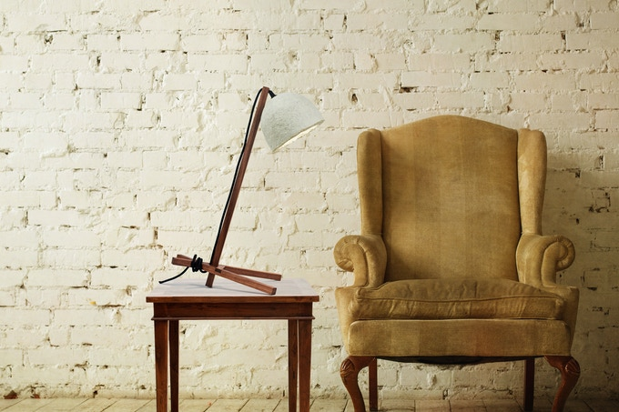 GROW Table Lamp in dark walnut