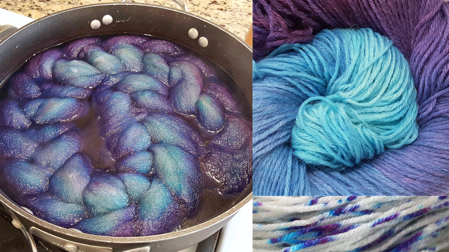 A ChemKnits video series experimenting with innovative ways to dye yarn using food coloring, acid dyes, natural dyes, and more.