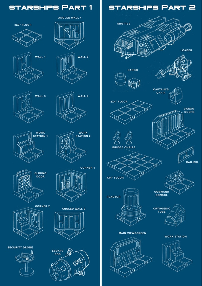'Starships Part 1' & 'Starships Part 2' terrain sets (final design subject to change).