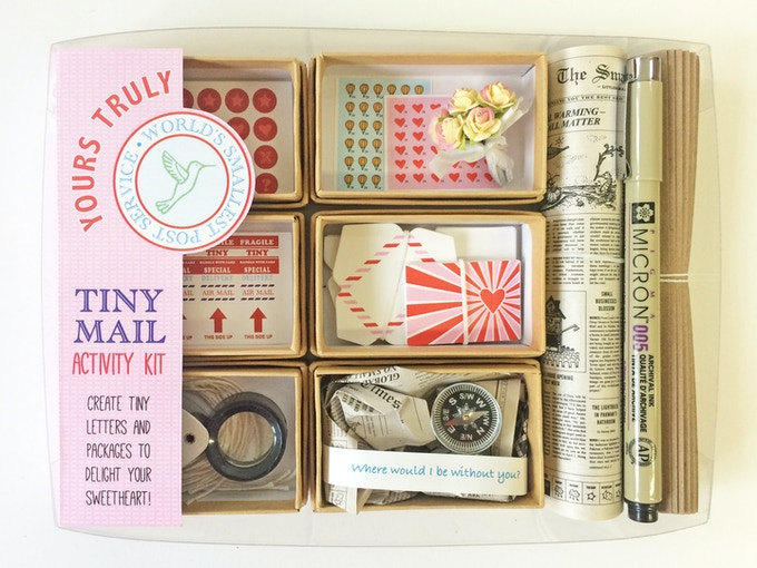 Includes little gifts: a tiny paper flower bouquet and a compass to send in one of your tiny love packages.