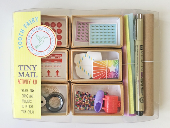 """Includes little gifts, like a tiny """"tooth saver"""" treasure chest, star confetti, and a """"lost shoe"""" that your tooth fairy can accidentally leave behind under the pillow! This edition has colorful tissue paper as the """"packing paper"""" for the packages."""