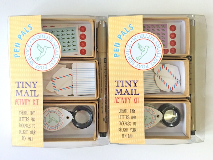 1 kit for 2 friends to share! This set separates into 2 mini kits of tiny stationery, each with its own pen!