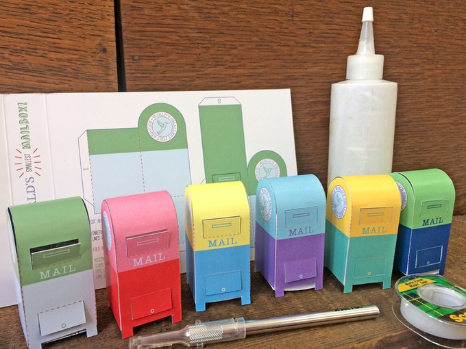 Hiding behind the tiny mail supplies in each kit is a paper pattern for you to make your own tiny mailbox! Instructions included.
