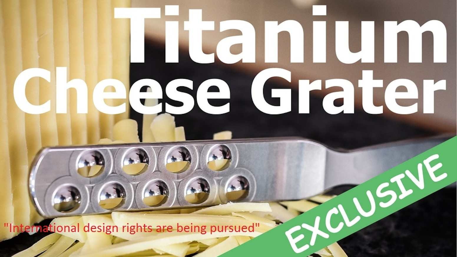A *SAFER* Way To Grate! The Greatest Development In Cheese Grating In 470 Years! Fully Titanium and Built To Last a LIFETIME...