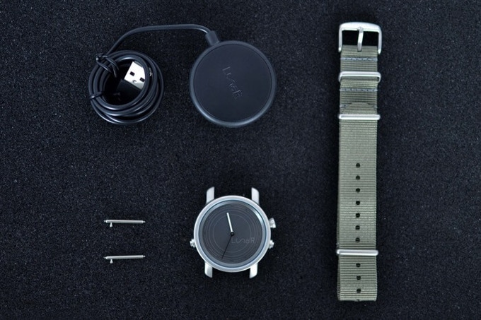 1. LunaR Smartwatch |  2. Nato strap | 3. Pins (used for attaching the strap) | 4. USB Charger (just for emergencies!)