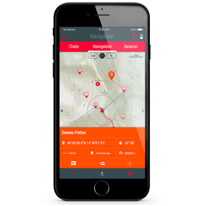 """User with activated """"Emergency"""" Location Beacon visible on the map, with all his data"""