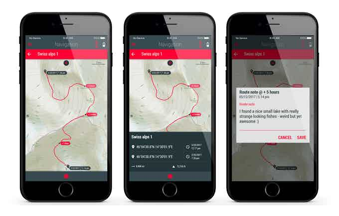 Route recording: start and end points, naming the route, adding points of interest