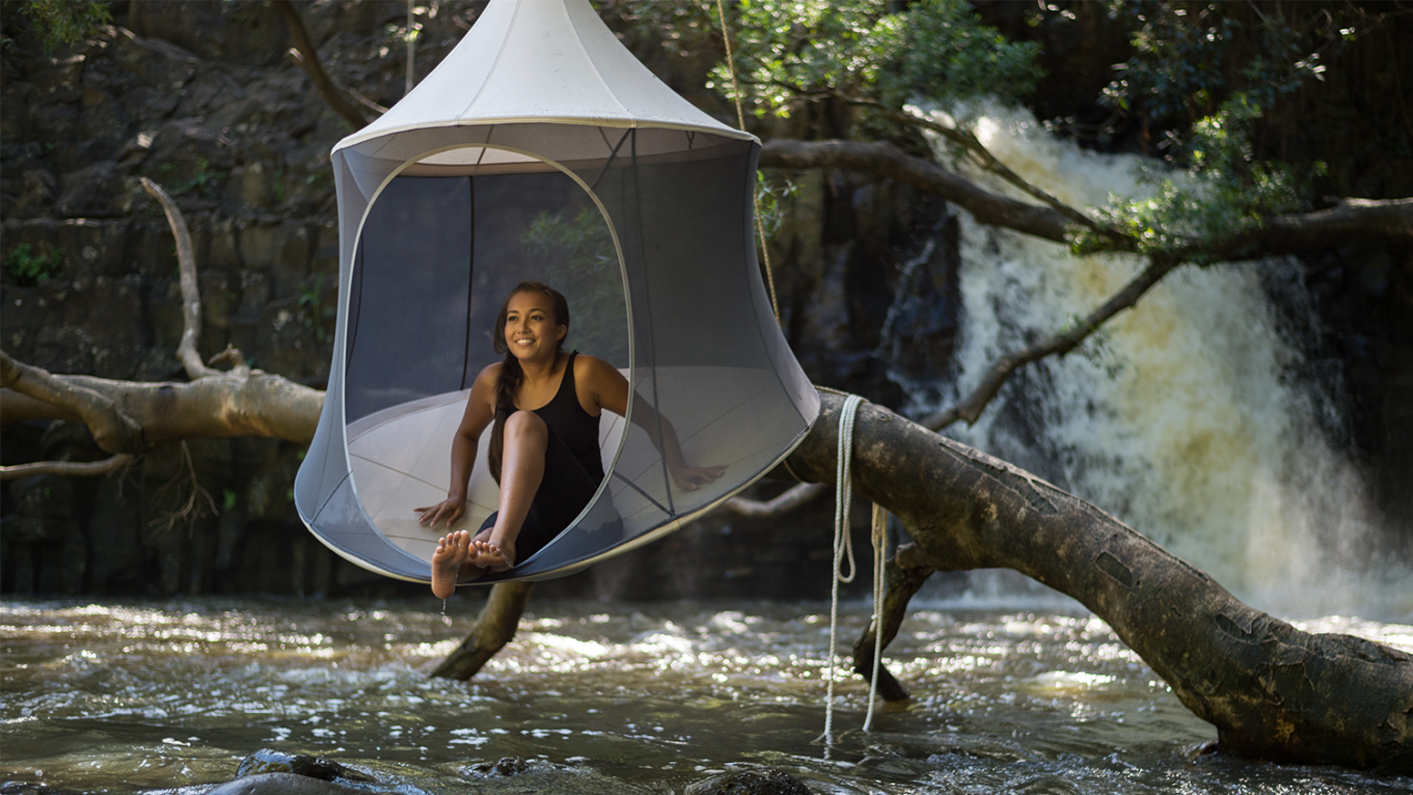 TreePod combines the luxury of a cabana with the portability and suspension of a hammock for ultimate relaxation