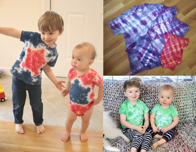 Tie dyed shirts featured in ChemKnits Tutorials videos.