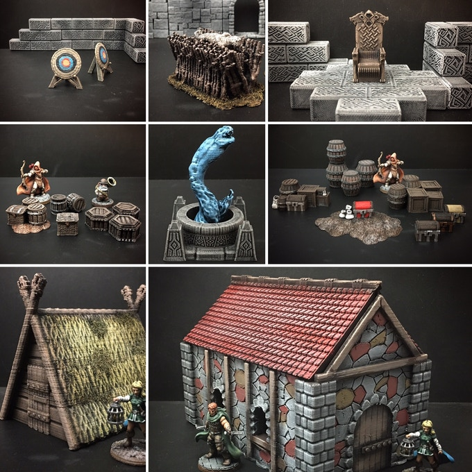 A few of the many scatter terrain designs we offer for free through our Delving Decor collection.