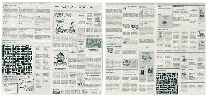 """To keep your tiny gifts safe and sound in the boxes, we've included 6 copies of """"The Small Times"""" in each kit (tooth fairy kit excluded). Every article in our tiny newspaper is tiny themed! And the itty bitty crossword puzzle works!"""