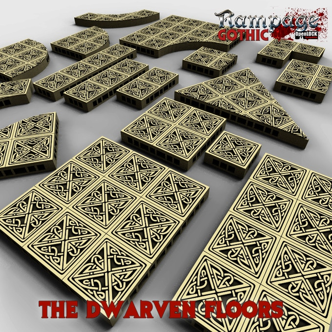 The Dwarven Floors bonus item is a complete set of Dwarven style floor tiles