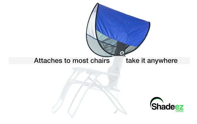 A portable, lightweight sun shade that can be attached to most chairs.