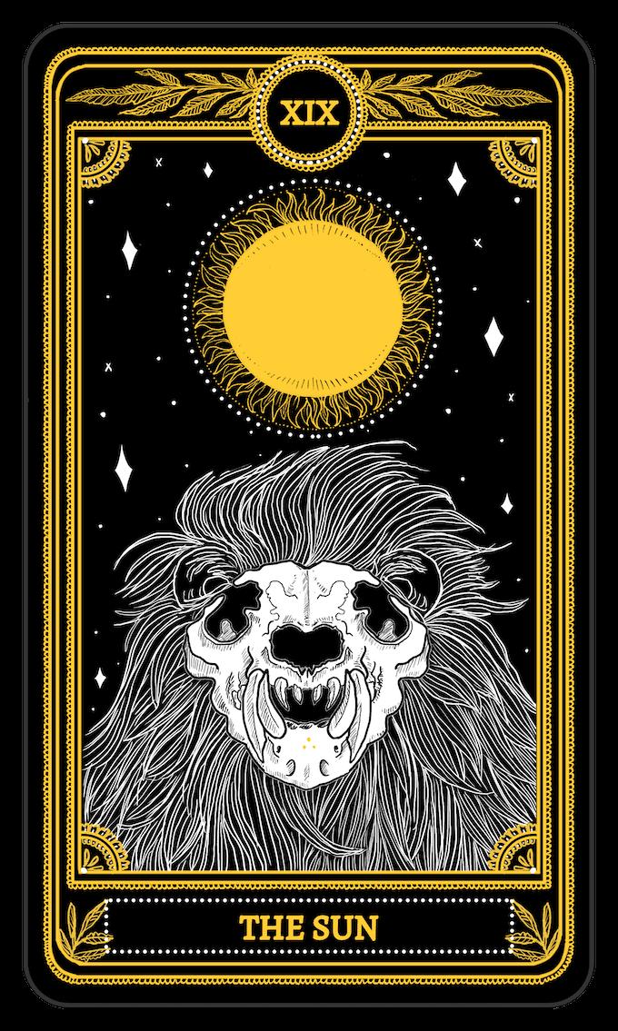 The Sun from the Major Arcana of the Marigold Tarot