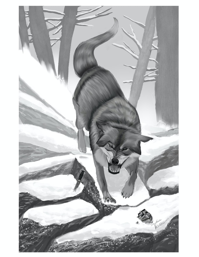 A finished illustration of a Dire wolf by Alexia