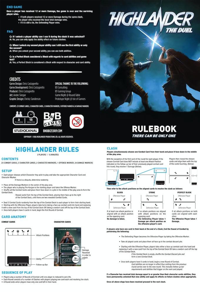 Highlander The Duel By B B Games Studio Kickstarter