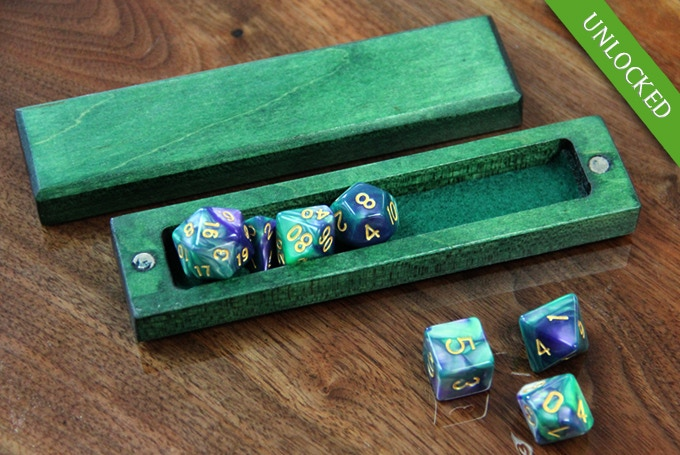 Flame Birch with Kickstarter Green finish and Aurora dice