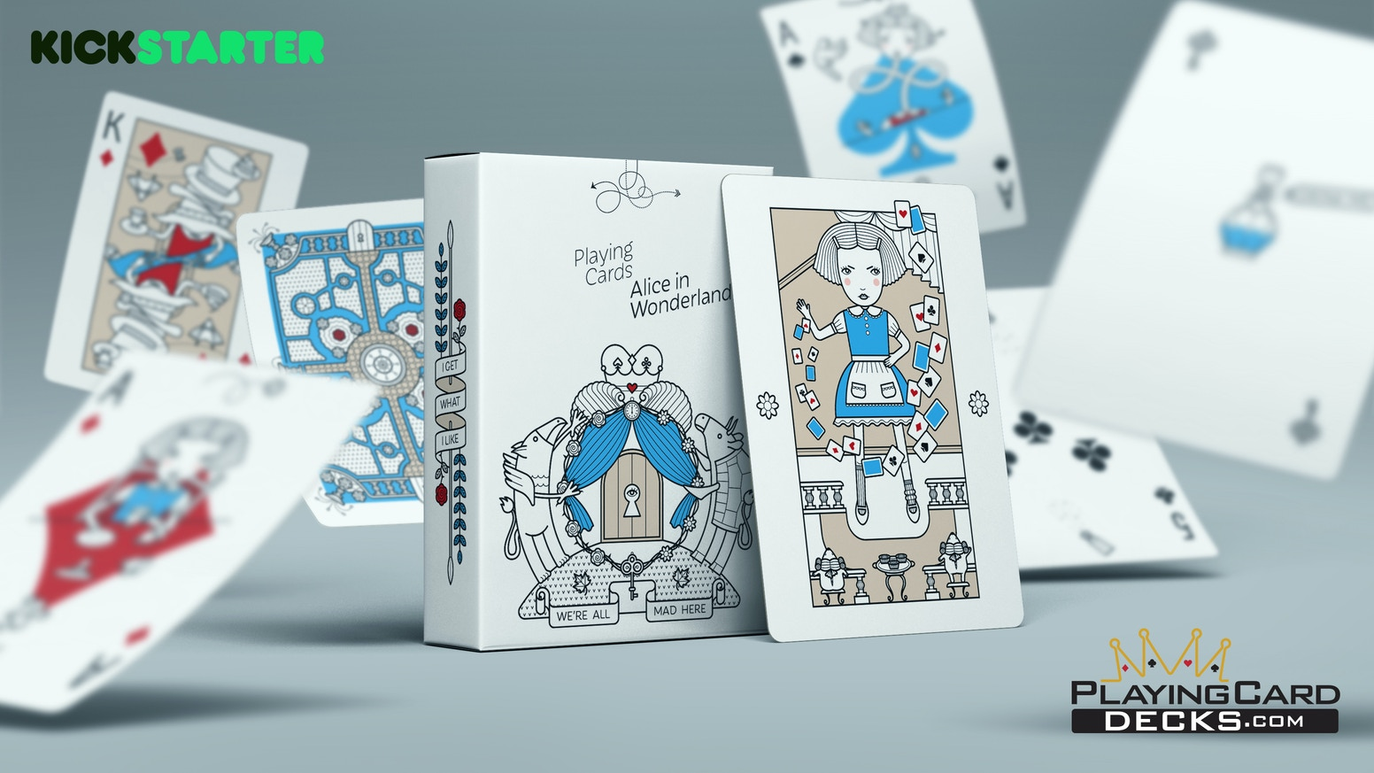 """A 100% custom illustrated deck, inspired by """"Alice in Wonderland"""" story. Limited print by USPCC."""