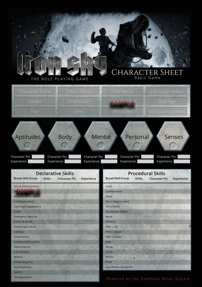 The 'Iron Sky' Basic Rules Character Sheet - front