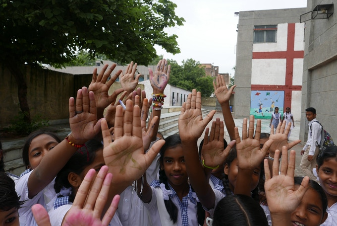 Hand washing campaign at a public school in New Delhi, India.