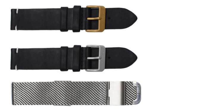 Vegetable tanned leather or stainless steel mesh strap