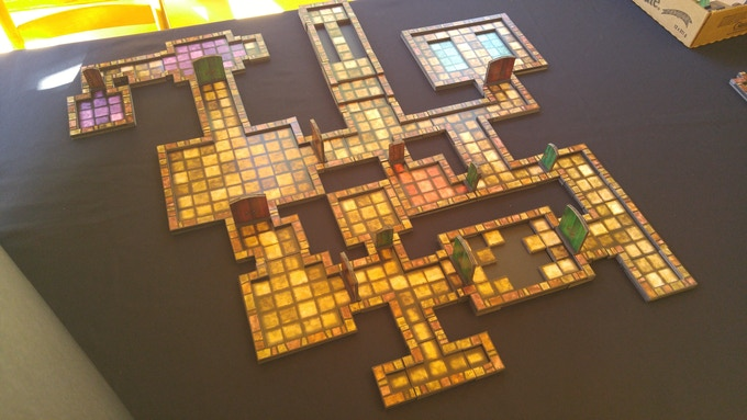 Large 2.5D dungeon with layered obstacles.