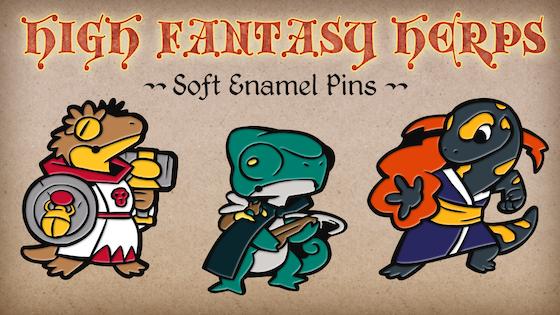 High Fantasy Herps II: Reptile Adventurer Pins