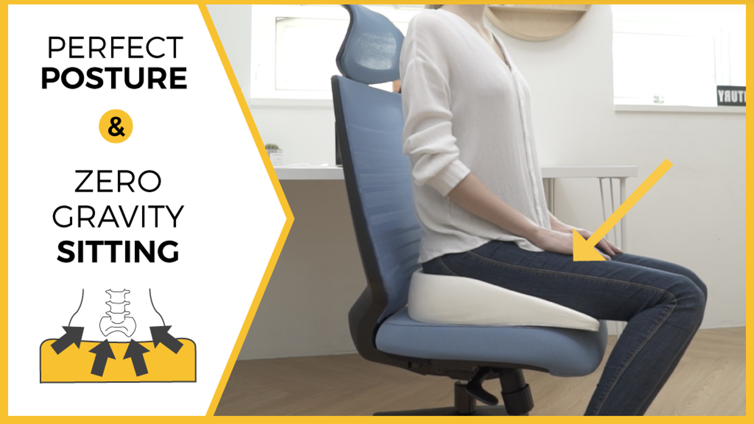 Experience weightless sitting with the most ergonomic cushion EVER. Reduce fatigue, release stress & pain, & Improves your mood.
