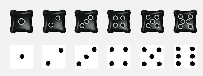 Dice pips design