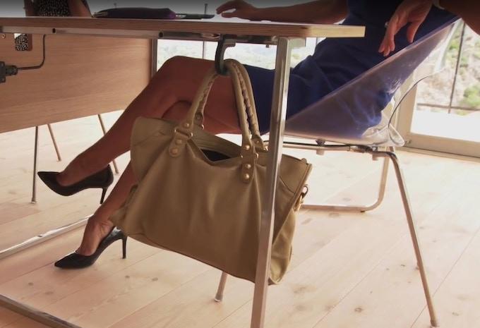Teamdesk's exclusive retractable bag hook