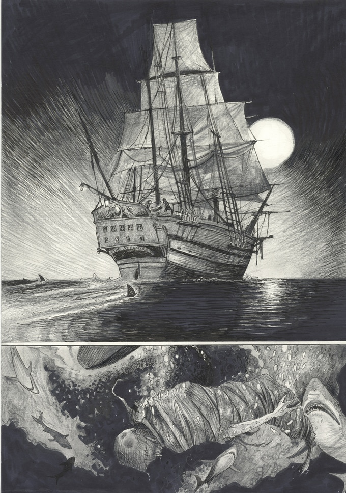 """The first page of the book, as Frankenstein and his creation make their way to America aboard the Alhambra, a """"coffin ship"""" from Ireland."""