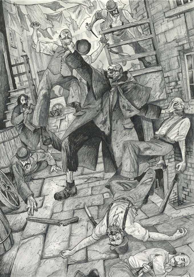 A preliminary mood-setting sketch from David, showing Frankenstein's monster battling with a New York street gang shortly after arriving in America.