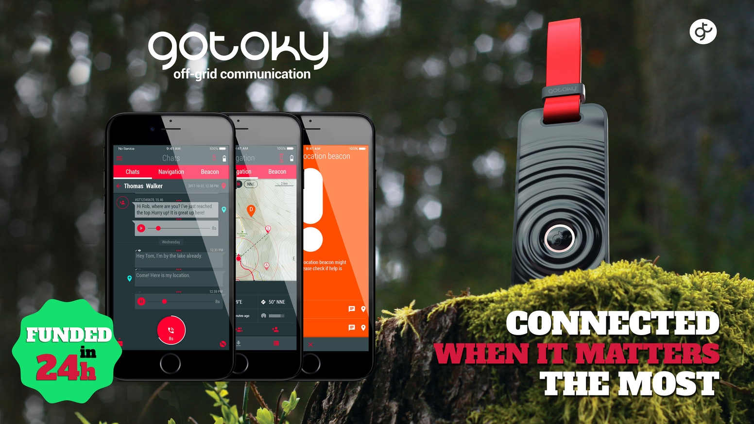 Voice&Texts, Emergency Location Beacon-call for help, Mesh network, live off-line tracking, route recording.. no mobile network needed.