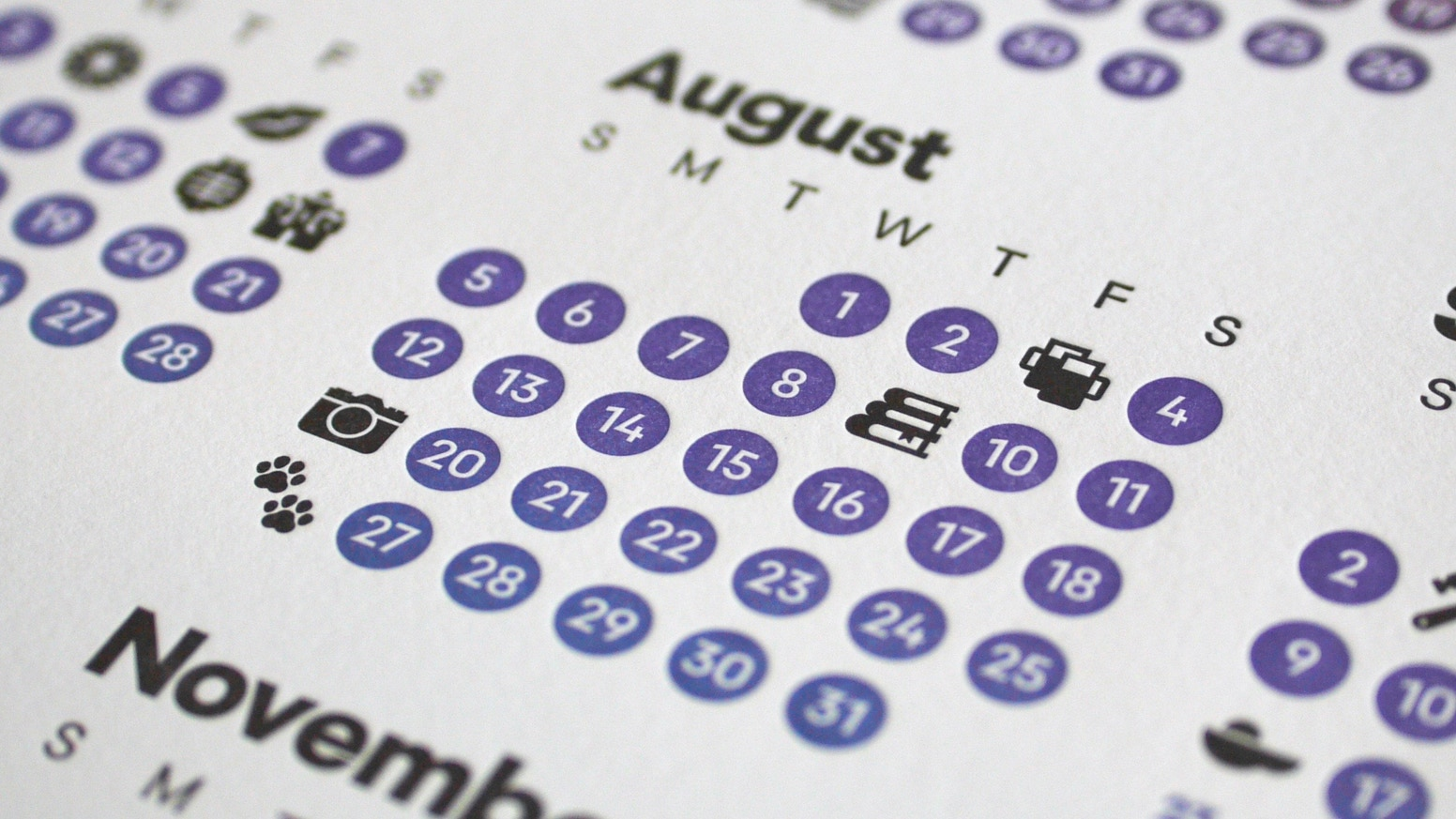 The Unicalendar is a luxuriously printed single-page letterpress calendar inspired by worldly celebrations and exotic emoji.