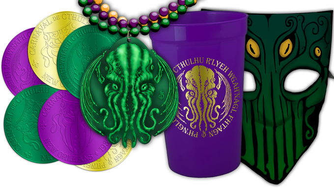 The Mardi Gras Pack now includes the custom Cthulhu Mardi Gras Beads, Doubloons, Masque of Cthulhu, and Go-Cup!