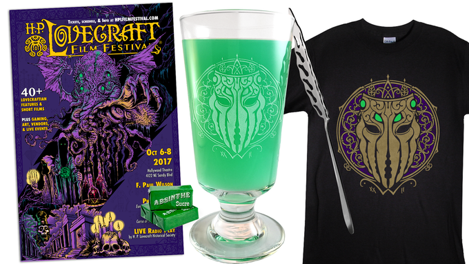 Add-on Original poster art by Nick Gucker for $10, the Cthulhu Absinthe Glass Set for $45, Supporter Shirt for $25.