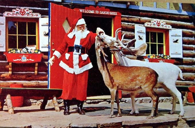 Santa with his reindeer, 1951