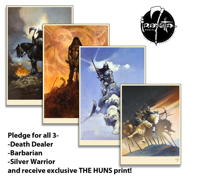 "All 3 prints, plus set-exclusive ""The Huns"""