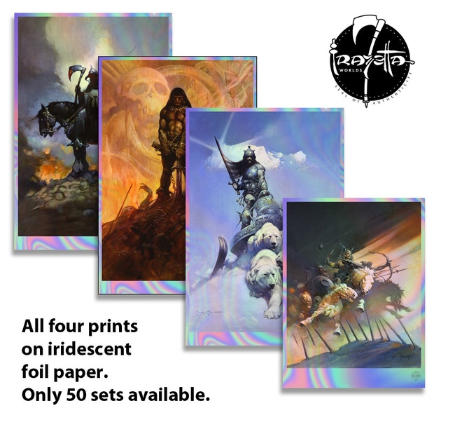 All 4 prints on iridescent foil! Limited to 50.