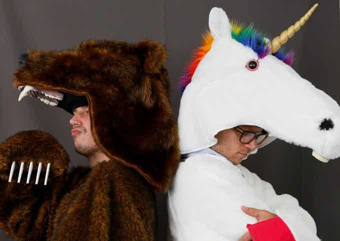 Griz Coat on the left and the new Unicorn Coat on the right