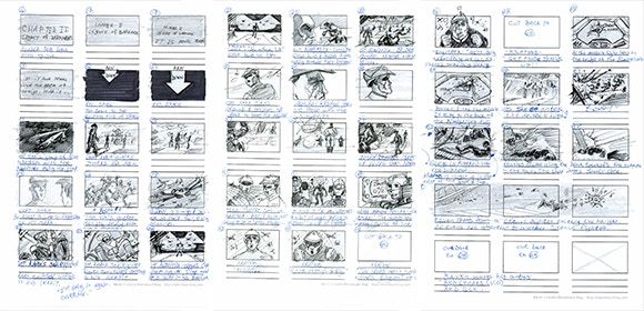 Early storyboards for the opening sequence