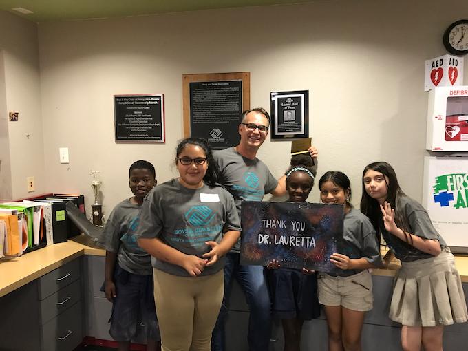 Boys and Girls Club kids celebrate with Xtronaut co-founder Professor Dante Lauretta