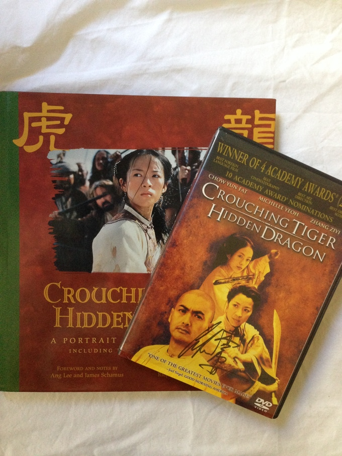 Crouching Tiger, Hidden Dragon book and DVD, both signed by Ang Lee