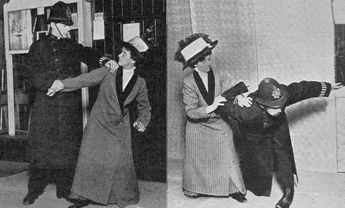 Suffragette Bodyguard trainer Edith Garrud demonstrates jujutsu.