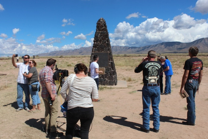 Taylor Dunne and Eric Stewart filming at the Trinity Test Site open house